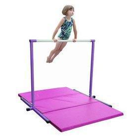 Purple Horizontal Bar and 6ft Pink Folding Gym Mat