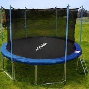 the safety net is high to allow adults to use the trampoline